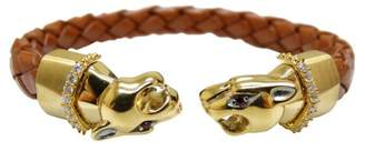 Stainless Steel Leather Panther Leopard Bracelet