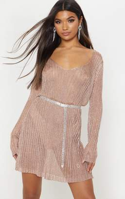 PrettyLittleThing Silver Metallic V Neck Knitted Dress