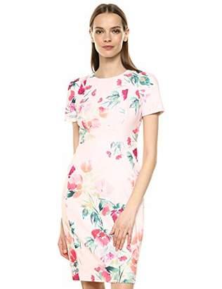 17438a17 Calvin Klein Women's Short Sleeved Princess Seamed Sheath Dress