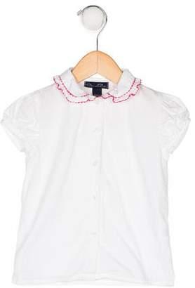 Oscar de la Renta Girls' Ruffle Collar Top