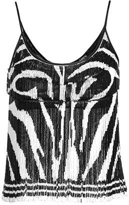 Amen Beaded Fringe Zebra-Print Crop Top