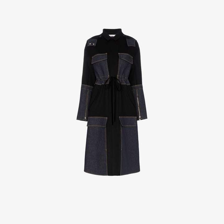 Adeam Belted and faux fur collared wool coat