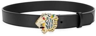 Gucci Tiger Head Black Leather Belt