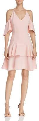 Aqua Flippy Dot-Trimmed Cold-Shoulder Mini Dress - 100% Exclusive