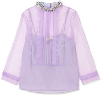 Marc Jacobs Crystal-embellished Ruffled Organza Blouse