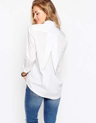 Asos Design Slim Boyfriend Shirt With Pleat Detail Back