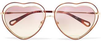 Chloé Poppy Love Heart-shaped Acetate And Gold-tone Sunglasses