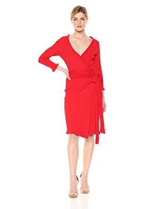 Milly Women's Knit Long Sleeve Ruffle Edge Wrap Dress