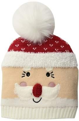San Diego Hat Company Kids Knit Santa Beanie w/ Faux Fur Pom Beanies