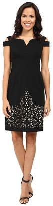 NUE by Shani Crepe Dress with Cold Shoulders and Laser Cutting Skirt Women's Dress