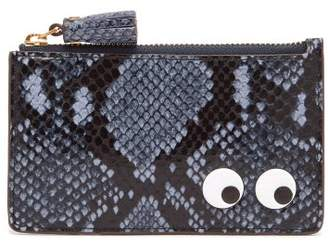 Anya Hindmarch Eyes Python Effect Leather Cardholder - Womens - Blue Multi