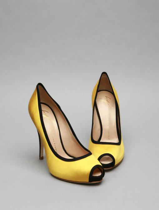Giuseppe Zanotti Peep Toe Heel in Yellow Satin with Black Piping