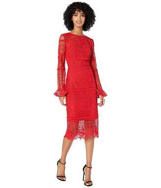 ML Monique Lhuillier Red Lace Cocktail Dress