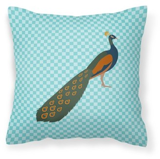 Caroline's Treasures Indian Peacock Peafowl Blue Check Fabric Decorative Pillow