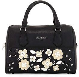 Karl Lagerfeld Paris Willow Saffiano Flower Applique Satchel Bag