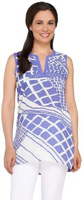Susan Graver Printed Feather Weave Sleeveless Tunic