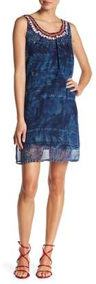 Desigual Sleeveless Print Embroidered Dress