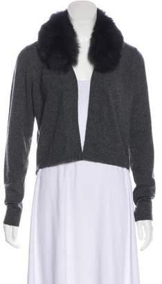 Minnie Rose Fur-Trimmed Cashmere Cardigan w/ Tags