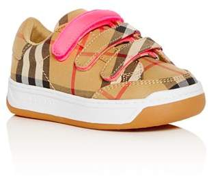 Burberry Girls' Groves Vintage Check Lace-Up Sneakers - Walker, Toddler