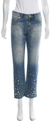 Michael Kors Embellished Mid-Rise Straight-Leg Jeans