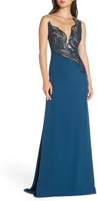 Tadashi Shoji Wave Sequin Illusion Gown
