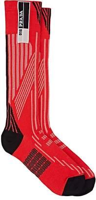 Prada Women's Logo Striped Compact Knit Mid-Calf Socks