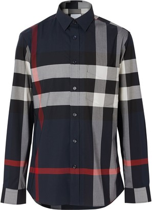 Burberry check stretch poplin shirt