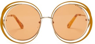 Chloé Carlina Round Metal And Acetate Sunglasses - Womens - Orange Gold