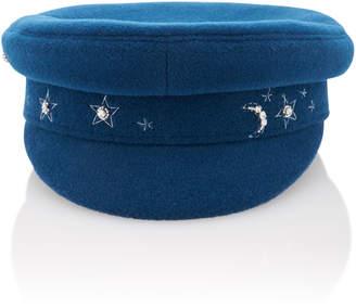 Ruslan Baginskiy Hats Wool and Glass Bead Baker Boy Cap
