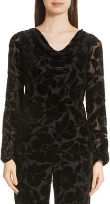 St. John Drape Neck Burnout Velvet Blouse