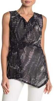 DKNY Printed Cowl Neck Sleeveless Blouse