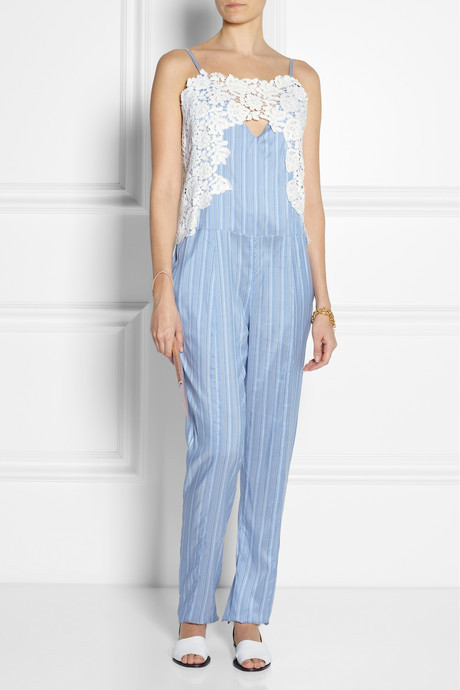 Thakoon Lace-trimmed striped silk jumpsuit