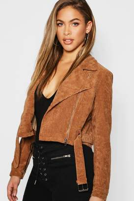 boohoo Cord Zip Through Belted Jacket