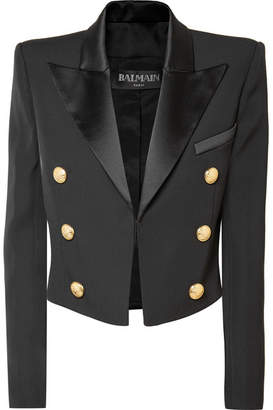 Balmain Cropped Satin-trimmed Wool Blazer - Black