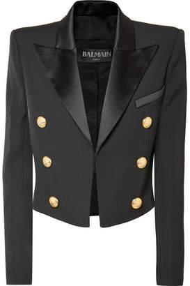 Balmain Cropped Satin-trimmed Wool Blazer - Black