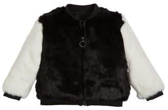 Adrienne Landau Two-Tone Fur Varsity Jacket, Size 4-12