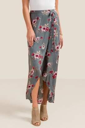 francesca's Alexa Floral Maxi Skirt - Gray