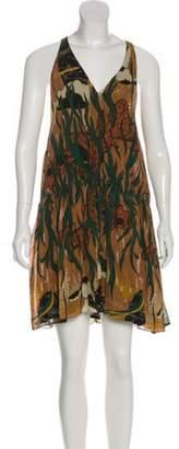 Gucci Silk Abstract-Print Dress Brown Silk Abstract-Print Dress