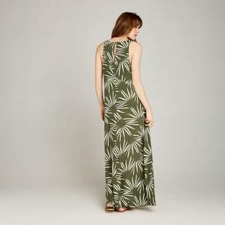 877715e8bab70 Apricot Khaki Geo Palm Print Maxi Dress