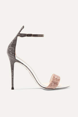 Rene Caovilla Crystal-embellished Satin And Leather Sandals - Antique rose