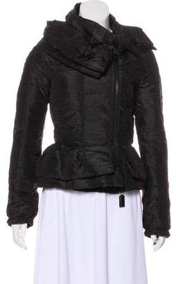 Prada Leather-Accented Silk Jacket
