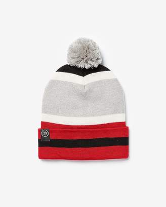Express Exp Striped Pom Beanie