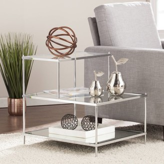 Southern Enterprises Kreamer Glam Mirrored Accent Table, Chrome