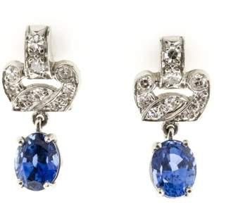 Platinum Blue Sapphire & Diamond Earrings