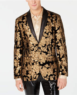 INC International Concepts I.n.c. Men's Floral Sequin Velvet Blazer