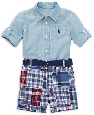 Ralph Lauren Boys' Chambray Shirt, Madras Shorts & Belt Set - Baby