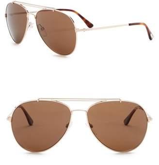 Tom Ford Indiana Polarized 58mm Aviator Sunglasses