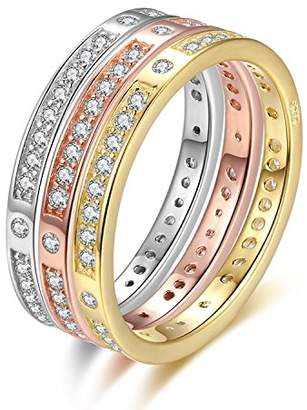 Wkae Fashion Ring Solid Genuine S925 sterling silver 3 color rings set ( Size : )