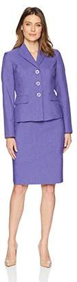 Le Suit Women's Plus Size Weave 3 Button Wide Lapel Skirt