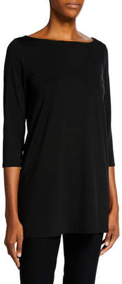 Eileen Fisher Boat-Neck 3/4-Sleeve Jersey Tunic, Plus Size